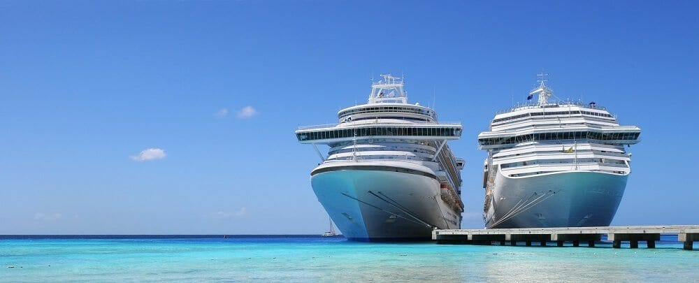 Cruise ships docked in Caicos Island, West British Indies