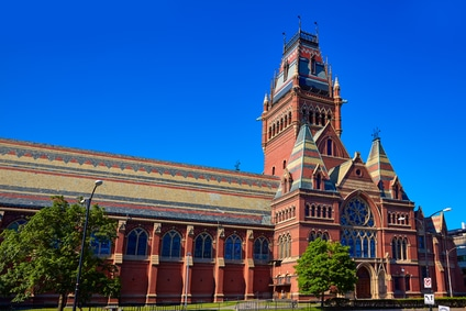 Harvard University historic building in Cambridge at Massachusetts USA