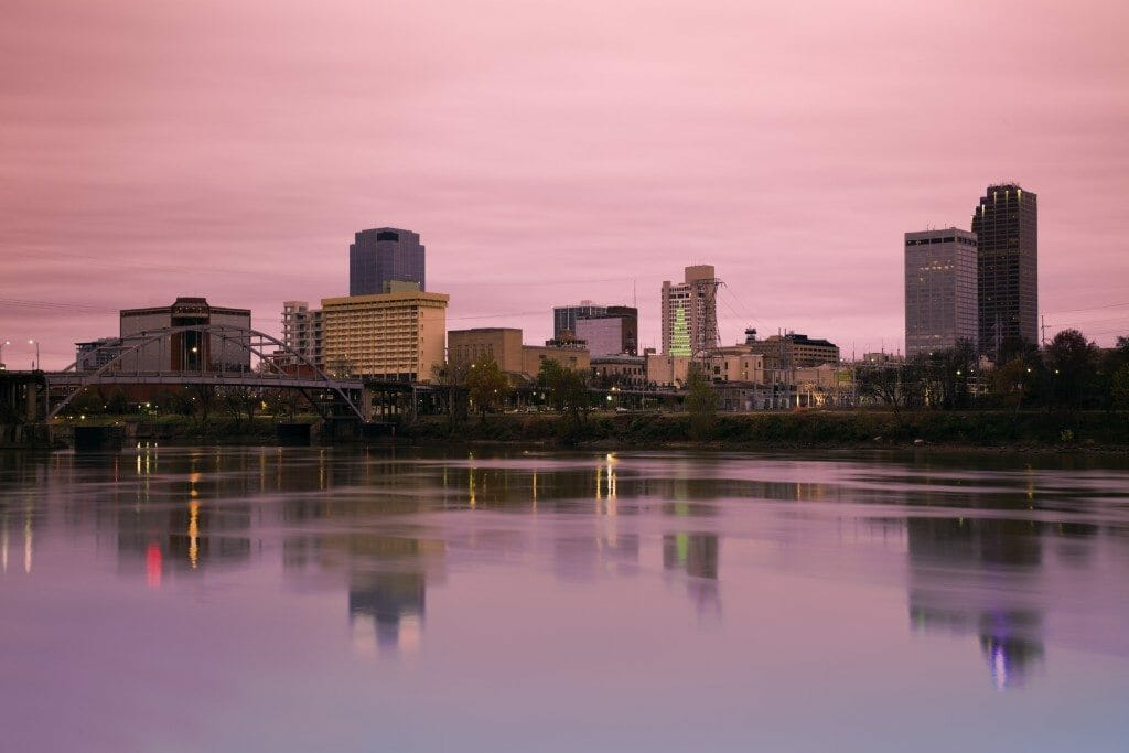 Sunrise in Little Rock, Arkansas. Morning time.