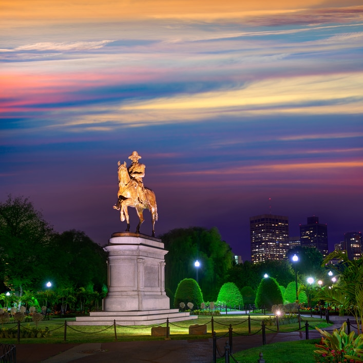 Boston Common George Washington monument sunset at Massachusetts USA