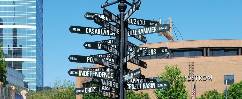 The Milepost Sign at Pioneer Courthouse Square, in Portland, Oregon. Photo by Steve Morgan.