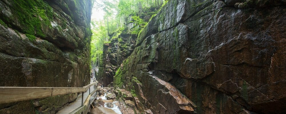 Narrow Flume Gorge at Franconia Notch in New Hampshire