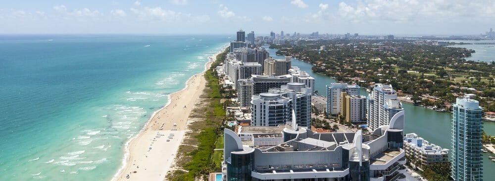 View down South Beach from the north with the city on the right