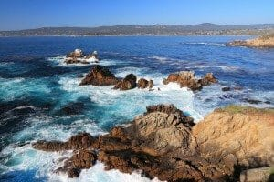 California, United States - Point Lobos State Reserve. Pacific coast view with Carmel Bay.