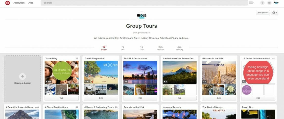 Group Tours Pinterest