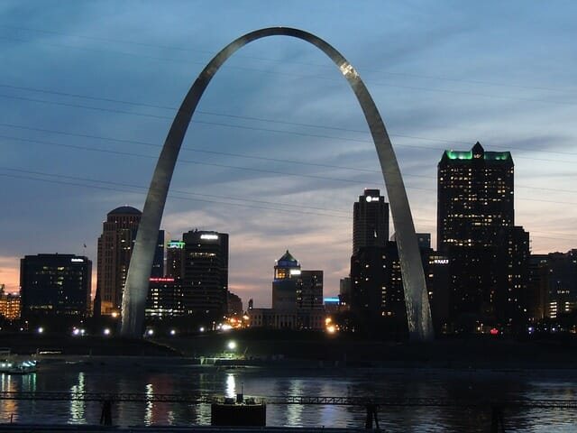 St. Louis Arch at Night Public Domain