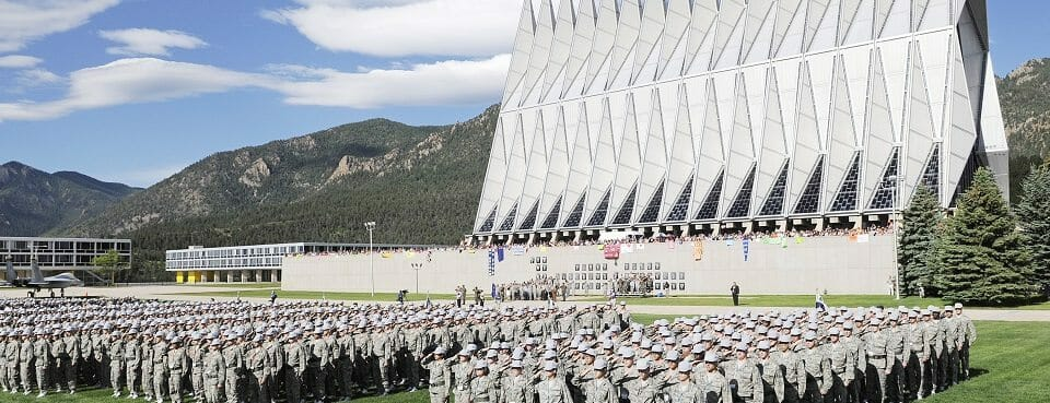 More than 1,300 basic cadets salute June 26 during their first reveille formation at the U.S. Air Force Academy in Colorado Springs, Colo. (U.S. Air Force photo/Mike Kaplan)