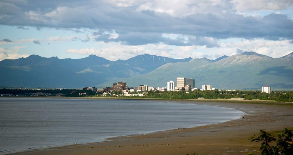 Sandy beach bay Anchorage Alaska downtown city skyline