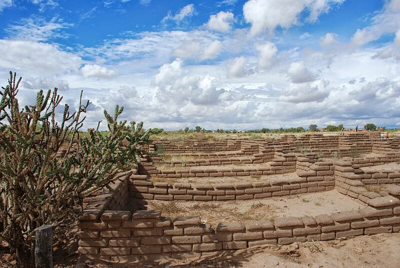 These are reconstructed ruins to resemble the original Kuaua Ruins at the Coronado State Monument. Also featured in the picture are the cactus plant known as tree cholla (Cylindropuntia imbricata). Author Skarz
