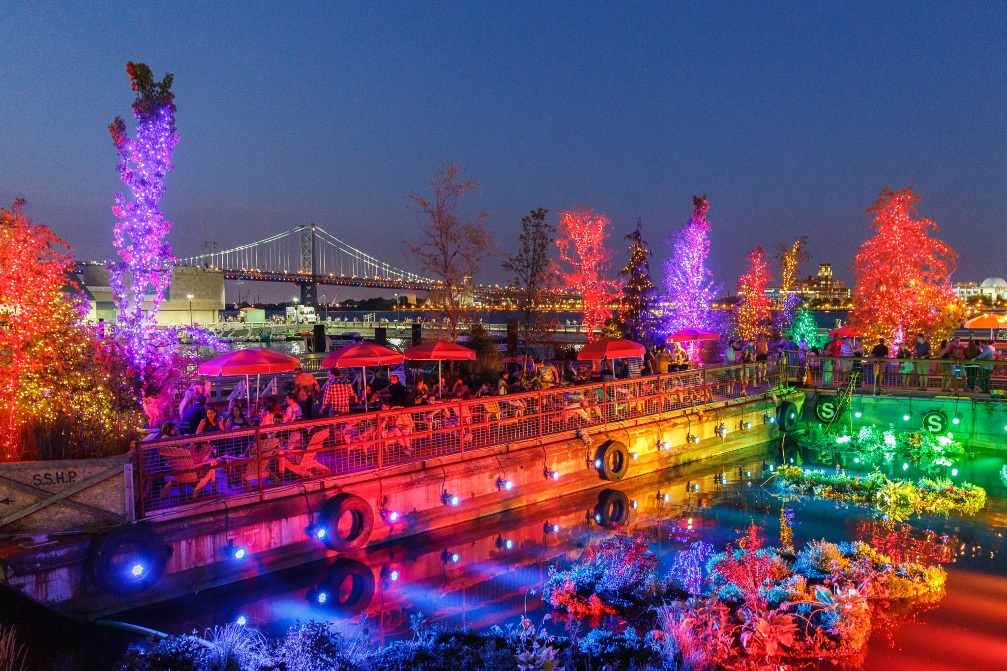 The floating barges at Spruce Street Harbor Park by Matt Stanley