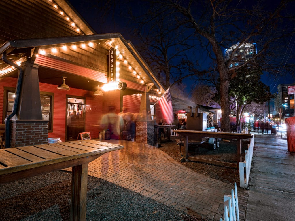 Exterior of Bangers Sausage House Beer Garden on Rainey Credit Banger's Sausage House and Beer Garden Courtesy of Visit Austin