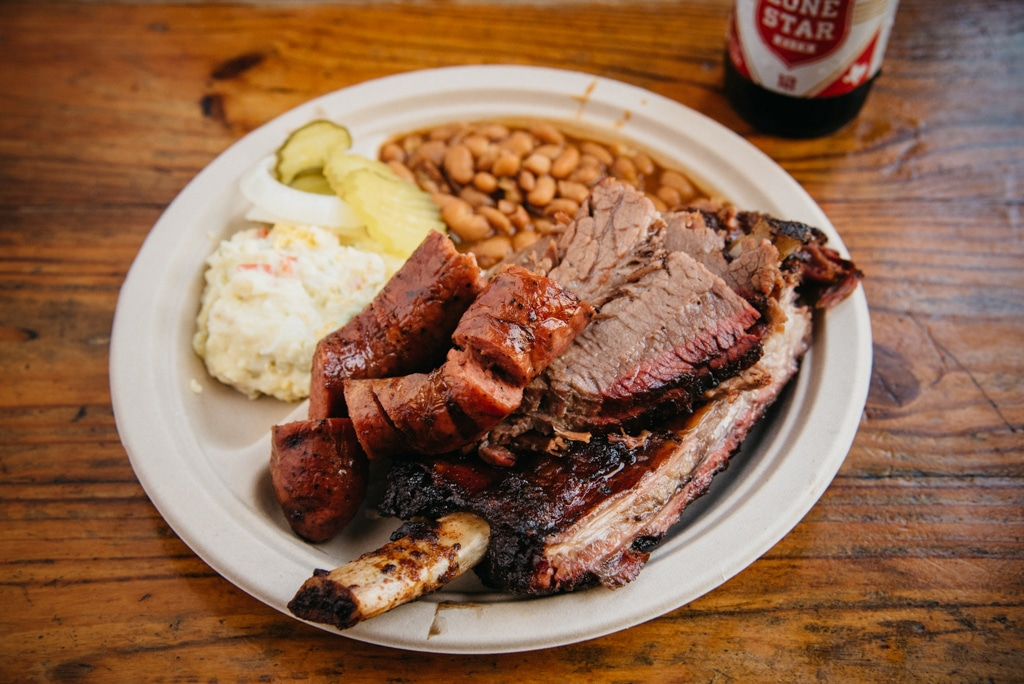 Plate of Food from Iron Works Barbecue Credit Lisa Hause Courtesy of Visit Austin
